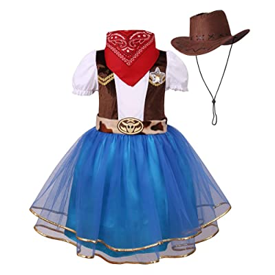 yolsun Halloween Cowgirl Costume for Girls Funny Holiday Party Princess Dress Up: Clothing