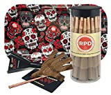 Bundle - 4 Items - 50 Natural RAW King Size Cones, RAW Five On It Cigarette Holder, RAW Loader with Rolling Paper Depot Rolling Tray (Skulls)