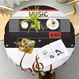 """70s Party Washable Round Tablecloth Broken Analogue Audio Cassette Music Playing Record Vintage Technology Waterproof Spillproof Tablecloth for Outdoor Indoor, 70"""" Round Orange Caramel White"""