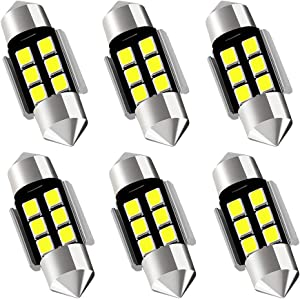 "AUXLIGHT DE3175 DE3021 DE3022 3175 31MM 1.22""Festoon Canbus Error Free LED Interior Light Bulbs 6000K Xenon White, Super Bright 6SMD Chips for Dome Map Door Courtesy License Plate Lights (Pack of 6)"