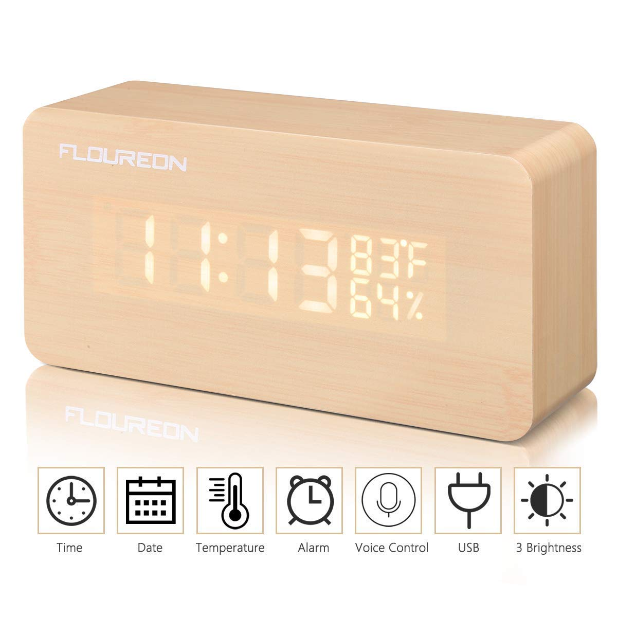 FLOUREON Wooden LED Cube Digital Desk Alarm Clock Calendar/Time/Temperature/Humidity Displaying with 3 Brightness Adjustable and 3 Set of Alarm, Dual Power, Voice Control Black