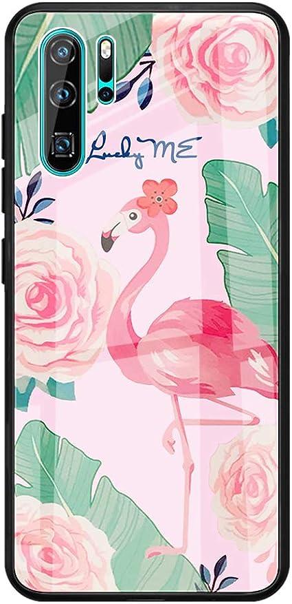 Caler Cubierta Trasera de Vidrio Templado, Funda Reemplazo para Huawei P30 Lite Borde de Estuche Silicona Suave y Marmol Cristal Anti-Golpes Anti-Arañazos Protección Cover Caso(Flamenco): Amazon.es: Electrónica
