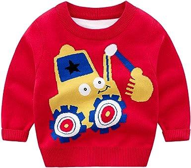 Little Girls Fine Knit Long Sleeve Animal Cartoon Warm Sweatshirt Sweater Pullover