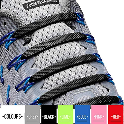 2SPORTIFY No Tie Shoelaces for Kids and Adults - Tieless Elastic Shoe lace for Sneakers Silicone Flat Laces Pack of 2 (Black+Black)