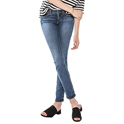 Silver Jeans Co. Women's Suki Curvy Fit Mid Rise Straight Leg Jeans, Medium Indigo Wash, 24W X 32L: Clothing