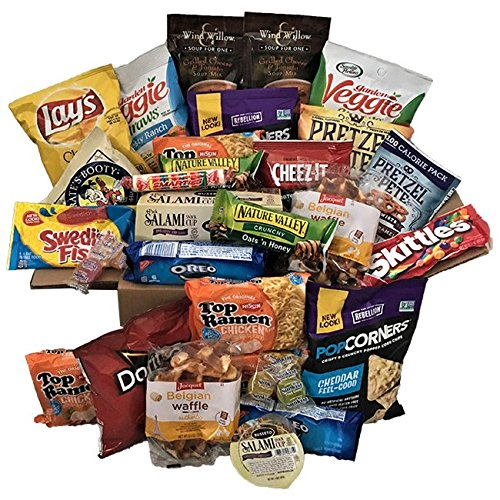Care Package for College Students, Military & Men - Over 4 lbs. of Sweet and Savory Snacks Including Cookies, Bars, Chips, Candy, Soups, Meat