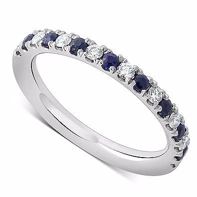 9391f6f509d13 Amazon.com: Platinum 0.25CT Diamond Sapphire Micro Pave Comfort Fit ...