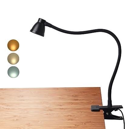 CeSunlight Clamp Desk Lamp, Clip On Reading Light, 3000 6500K Adjustable  Color Temperature