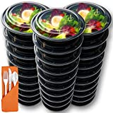 : Prep Naturals 30 Round Meal Prep Containers with Leakproof Lids and Plastic Cutlery Sets
