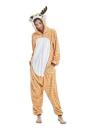 43b3cb8a4819 Amazon.com  MEILIS Adult Onesie Halloween Cosplay Reindeer Costumes ...