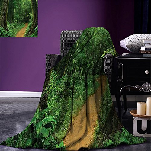smallbeefly Jungle Digital Printing Blanket Pathway in the Forest Thailand Freshness Calm Nature Park Meditation Hiking Hobby Picture Summer Quilt Comforter Green by smallbeefly