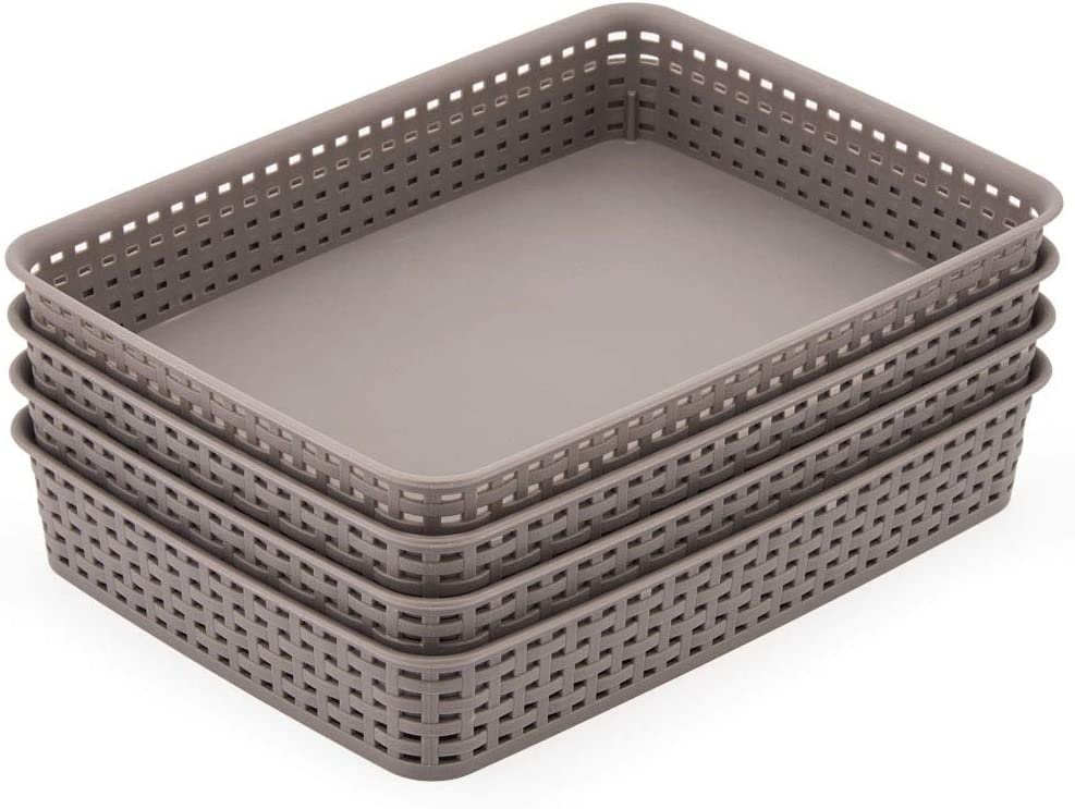 EZOWare Large Gray Plastic Storage Trays, Knitted Drawer Divider Organizer Basket Bins - 13.8 x 9.8 x 2.4 inch, Pack of 4