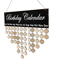 F Fityle Wooden Birthday Celebration Calendar Wall Hanging Plaque Board with 50 Pieces Blank DIY Discs & Round Hook