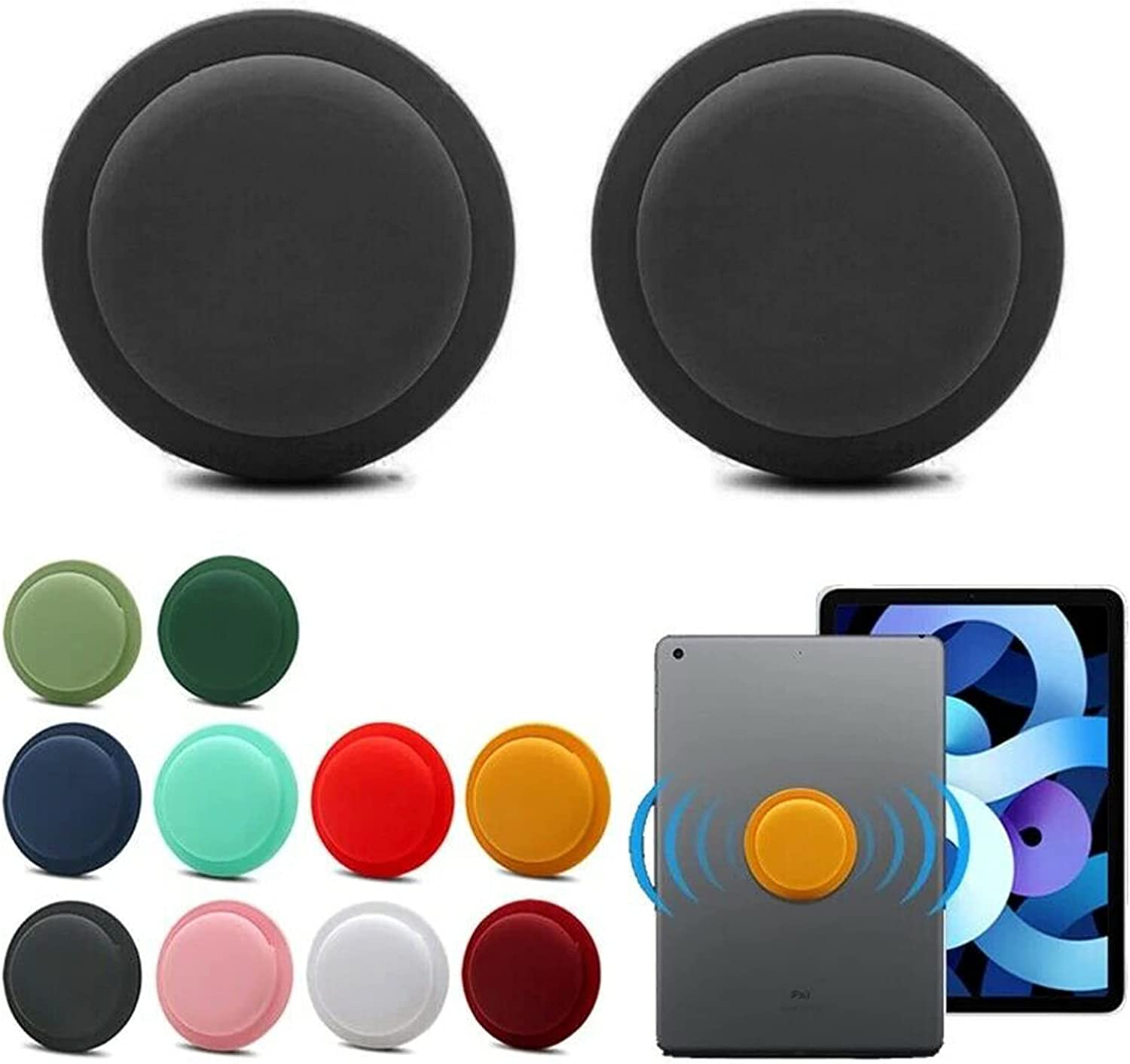 S-SNAIL-OO for Apple Airtag Case Adhesive - Silicone Protective Case for Apple Airtag GPS Location Tracker Back Adhesive Mount Cover Silicone Protective Sleeve Cover Safety and Anti-Lost (2-Black)