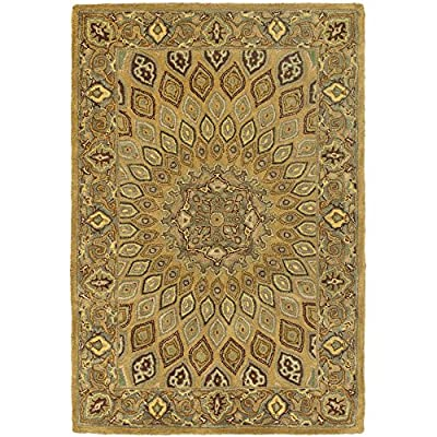 "Safavieh Heritage Collection HG914A Handmade Traditional Oriental Light Brown and Grey Wool Area Rug (9'6"" x 13'6"")"