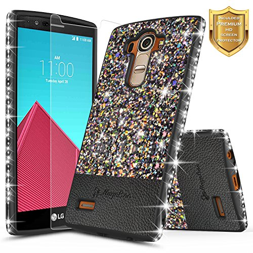 LG G4 Case with [Screen Protector HD Clear], NageBee Shiny Diamond Glitter Bling Crystal Super Slim Protective Soft TPU Leather Hybrid Case for LG G4 (Black)