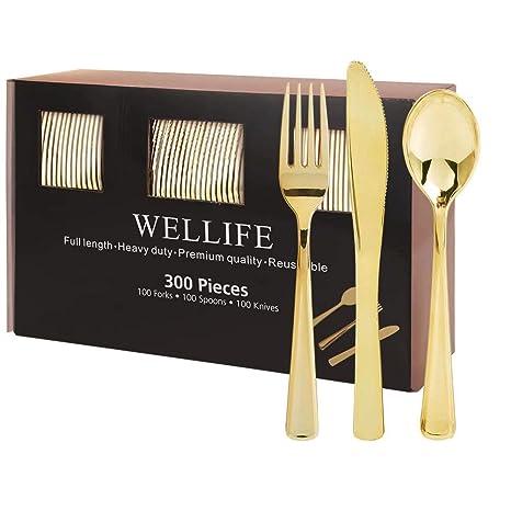 Amazon.com: 300 Pieces Gold Plastic Cutlery Premium Quality ...