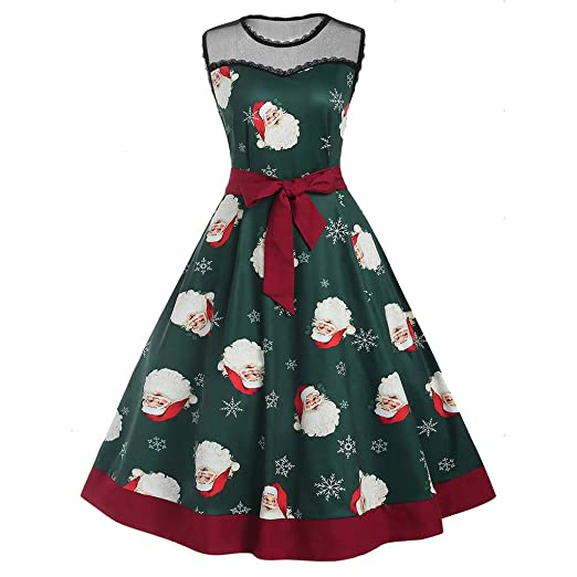 93ea4f1603509 Image Unavailable. Image not available for. Color  Vintage Women Christmas  Lace Dresses Santa Claus Printing Sleeveless Party Dress Ladies High Waist  Loose ...
