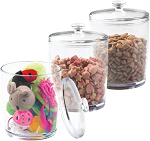 mDesign Tall Plastic Pet Storage Canister Jar with Lid - Holds Cat/Kitten Food, Treats, Toys, Medical, Dental and Grooming Supplies - Medium - 3 Pack - Clear