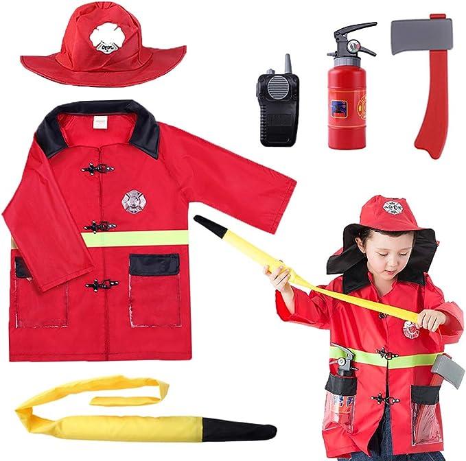 Child Fireman Fancy Dress Costume Fire Fighter Uniform Boys Kids Sam Emergency