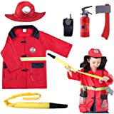 iPlay, iLearn Kids Fire Chief Costume, Halloween Fireman Dress Up Set, Fire Fighter Outfit, Pretend Role Play Firefighter Gif