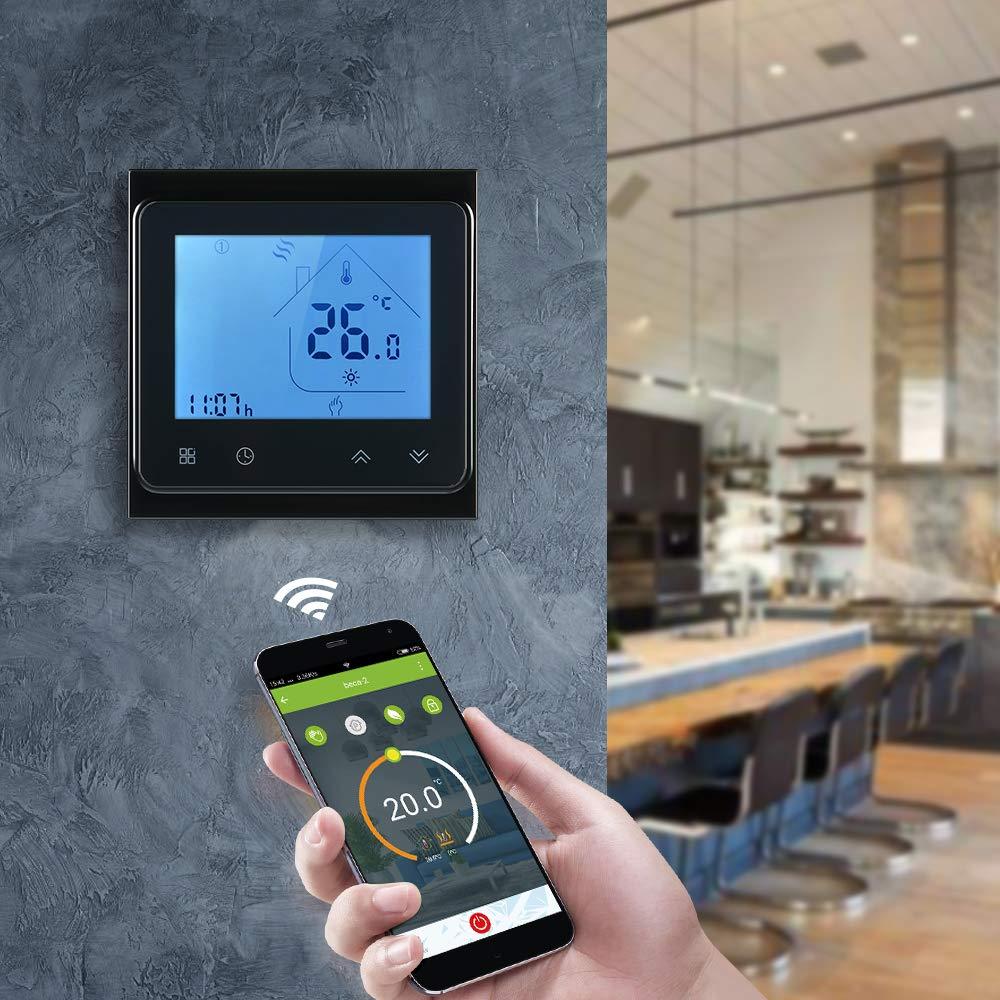 Decdeal Raumthermostat 5A Programmierbare Wifi LCD Digital Display Touchscreen Thermostat mit Sprachsteuerung Funktion 0.5 /° C Genauigkeit f/ür Fu/ßbodenheizung Wasserheizung
