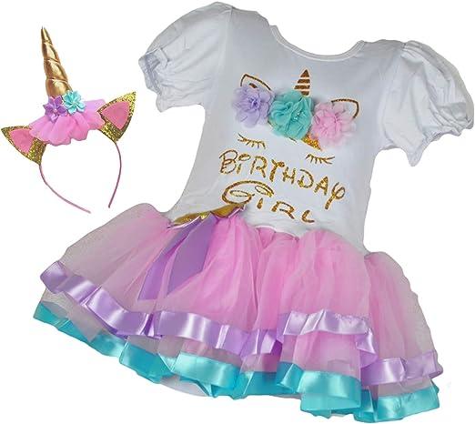 Amazon.com: Vestido de tutú dorado con diseño de unicornio ...