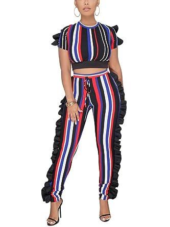 1a8f84e7e35 Womens Crewneck Slim Fit Striped Top and Leggings 2 Pieces Club Jumpsuit  Playsuit Multicoloured S