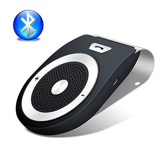 Bluetooth 4 1 Car Speakerphone Handsfree car Stereo Speaker Sun Visor Pair  2 Phones Simultaneously Car Charger for iPhone, iPad, Samsung Galaxy, HTC,