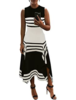 2514014ed0ec58 MISOMEE Damen Kurzarm Floral Krawatte Taille Maxikleid: Amazon.de ...