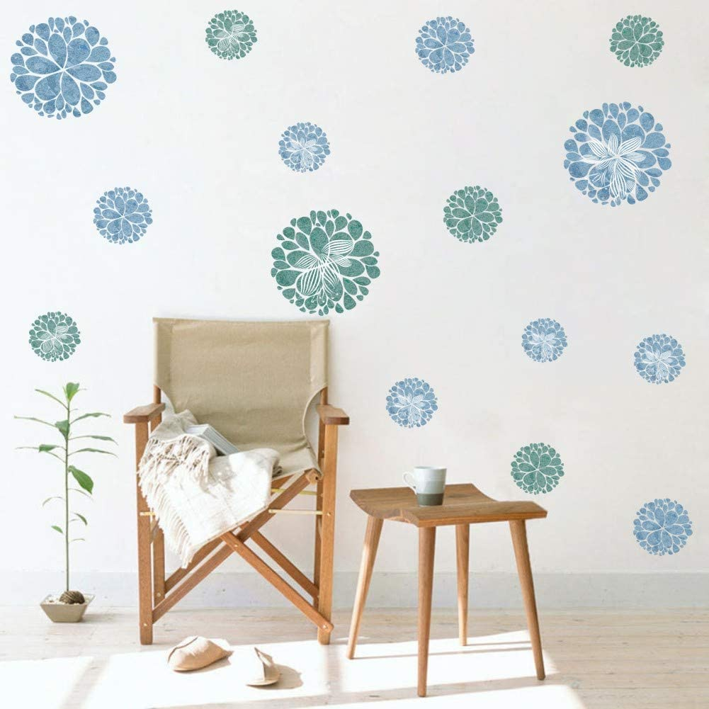 Watercolor Blooming Flower Wall Decal, Attractive Fireworks Pattern Sticker for Holiday Decoration, Great Circle Window Cling Decor and Girls Bedroom Decor