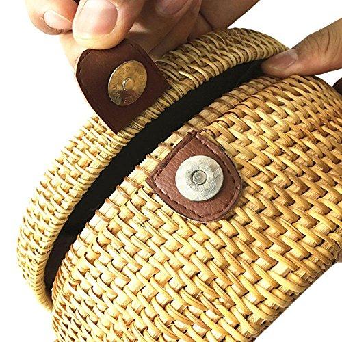 De Ratán Retro Diseño Broadroot Con Redondo Bolso Paja Playa Mujer Bandolera Para E4wnwqTO6x