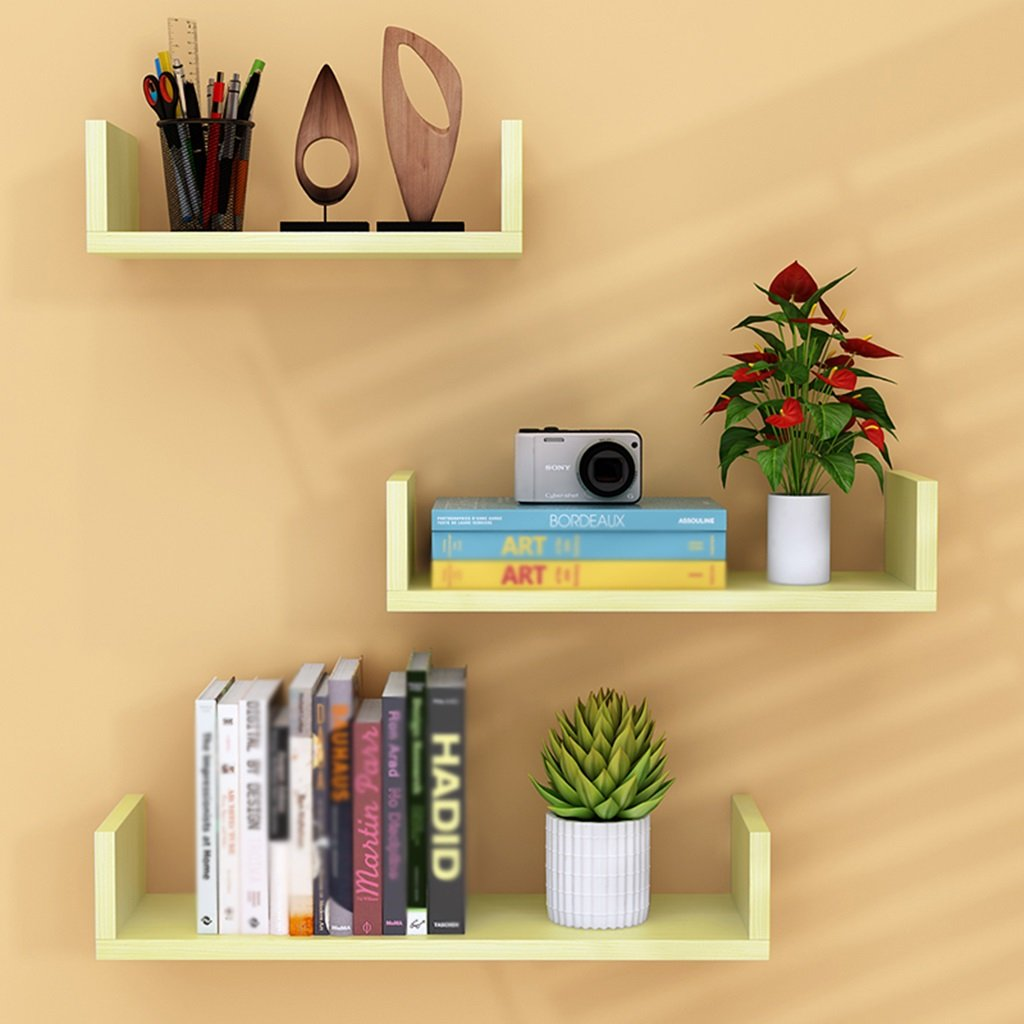 CSQ Indoor Wall Hangings, Pallet Shelf Bedroom Living Room Restaurant Kitchen Decoration Chlorophytum Potted Plants 3 Pieces Flower Shelf by Flowers and friends (Image #1)