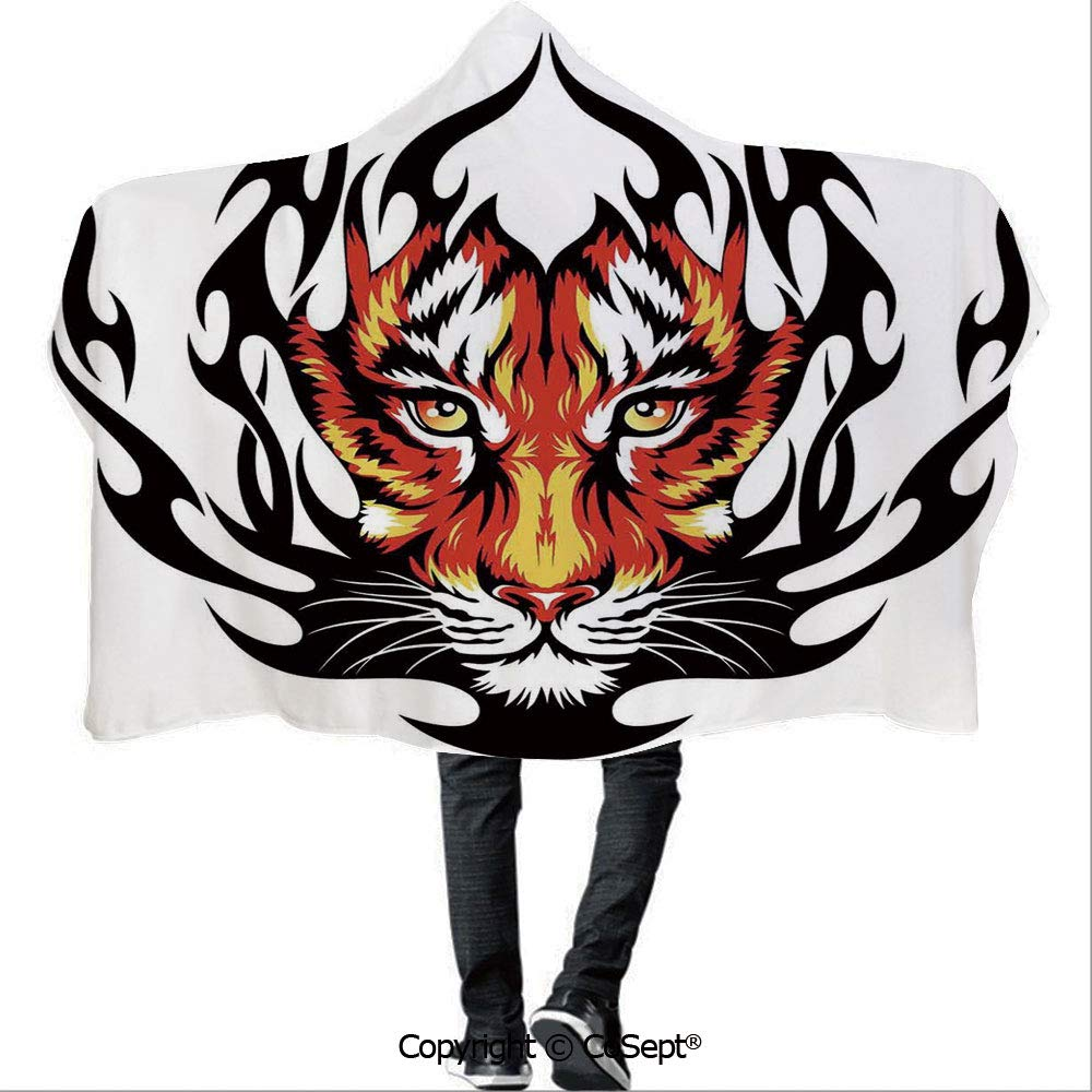 AmaUncle Hooded Blankets,Jungles Prince Tigers in Black Flames Frame Looking with Cat Eyes,Unisex All Ages One Size Fits All(59.05x78.74 inch),Black and Orange