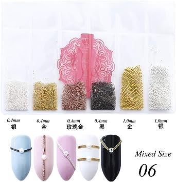 04mm 3d Micro Acier Perles Couleur Mixte Nail Art