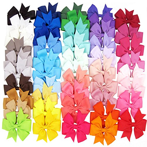 Price comparison product image 28 Colors Baby Chiffon Flower Hair Clips Rose Wedding Accessories (Multicolor)