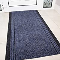 Navy Rubber Backed Very Long Hallway Hall Runner Narrow Rugs Custom Length - Sold and Priced Per Foot