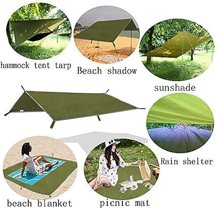 bottlewise 3m x 3m Camping Tent Tarp Portable Lightweight Picnic Mat Cover Waterproof Sun Shade Beach Shadow for Rain Snow Outdoor Travel