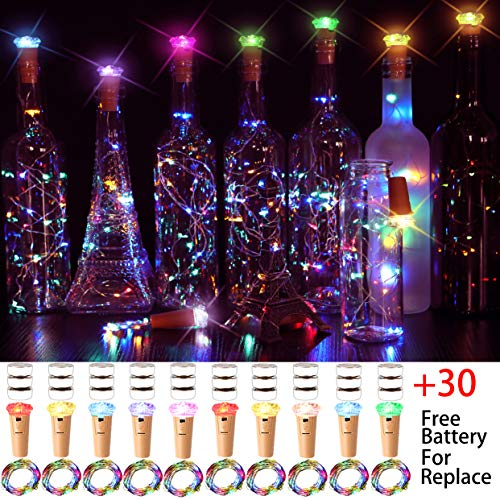 M.C.works 7 Color Flashing Wine Bottle Lights, Premium Cork Lights, 16 LEDs Diamond Shaped Cork Stopper Light Bottles DIY Mood Lights Decor, 55 in.(Pack of 10)