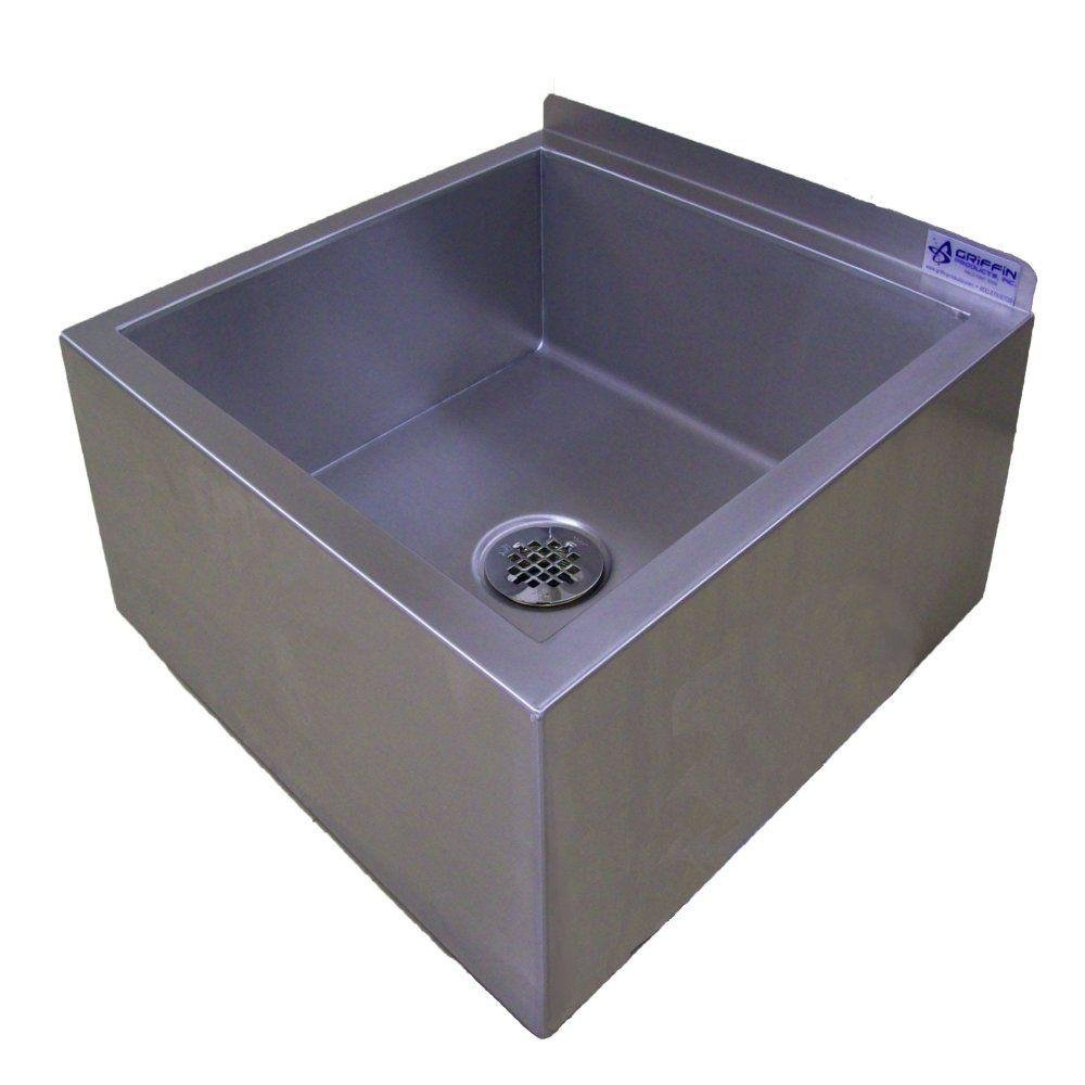 Griffin UM-220 Mop Sink with Drain, Stainless Steel
