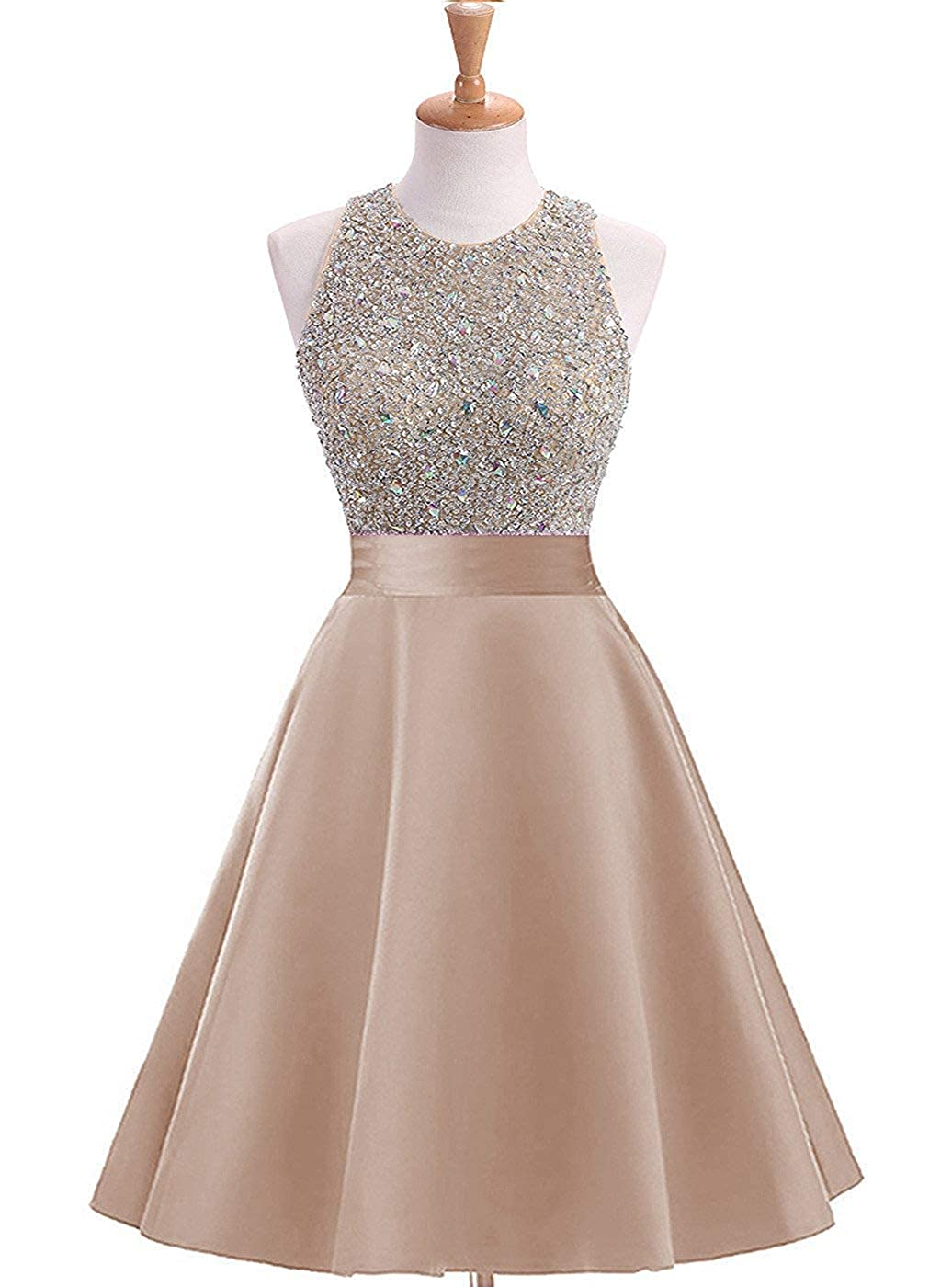 Champagnea Yuki Isabelle Women's Sequined Halter Cocktail Party Dress Satin Homecoming Dresses Short