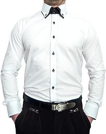 Hombre – Camisa manga larga entallada 2 Cuello 2 Botón Señor Camisa Slim Fit Bügel libre blanco 41: Amazon.es: Ropa y accesorios