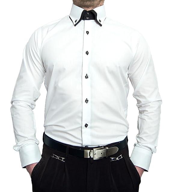 cheaper 09b52 c2f57 Pierre Martin Paris Herren Designer Hemd Langarm tailliert klassischer 2  Kragen 2 Knopf Slim Fit