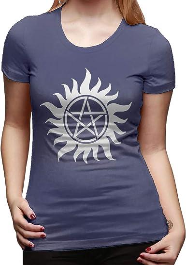 Camiseta de Manga Corta para Mujer con Logo Blanco Supernatural Azul Azul Marino XL: Amazon.es: Ropa y accesorios