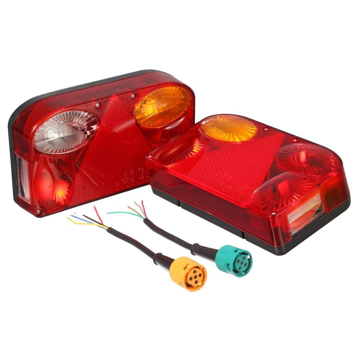 Luci Posteriori per Camion Kit di Cablaggio Illuminazione dellindicatore Lampada del Freno con Cavo a 5 Poli per Rimorchio Camion Caravan o Camion PARTSAM Set di Fanali per Rimorchio 12V