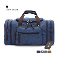 MEWAY Canvas Duffle Bag Travel Luggage Weekender Leather Trim Handbag with Strap