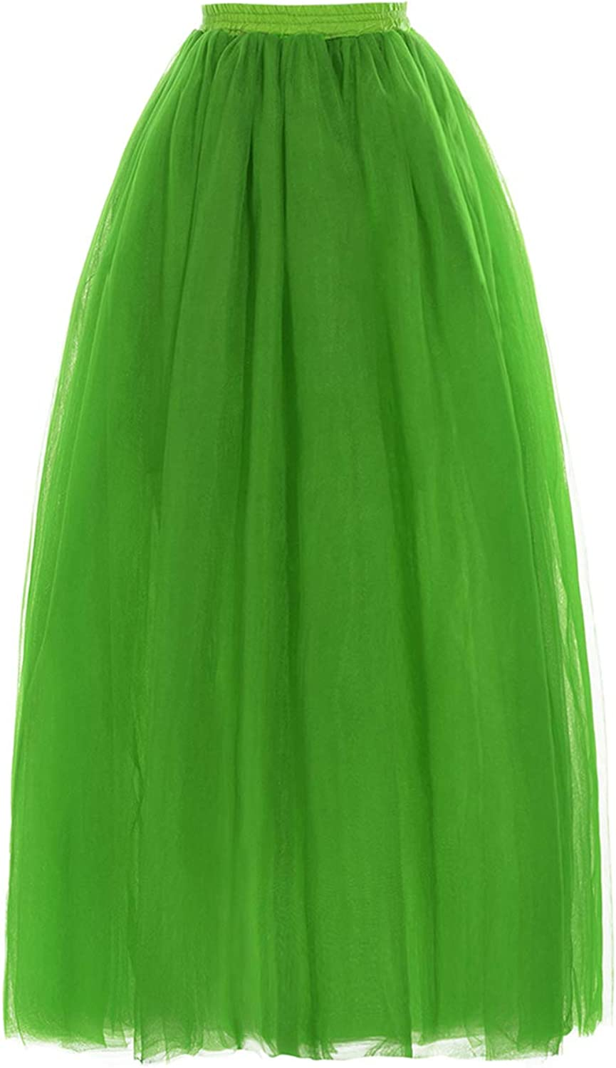 MisShow Ladys Soft Tulle Skirts for Bridesmaid Prom Evening Party Long Slips Pettiskirt Maxi Underskirt 18 Colors