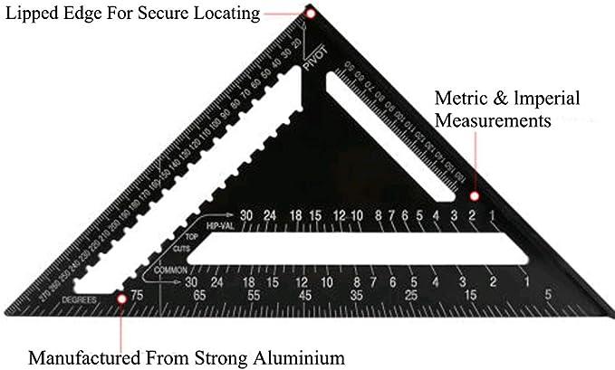 R/ègle triangulaire m/étrique//britannique de 30,5 cm avec rapporteur carr/é /à double /échelle en alliage daluminium pour charpentier et outils de travail du bois - Syst/ème m/étrique Noir 30,5 cm noir