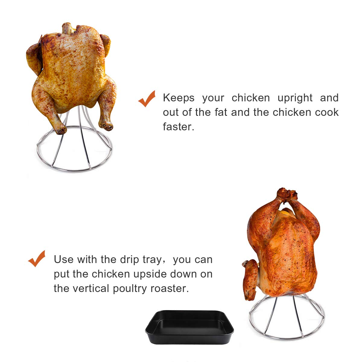 QQMaster Vertical Chicken Roaster Stainless Steel Turkey Rack Roaster Beer Can Meat Rack Holder Non-Stick Poultry Grill Stand Can Hold Turkey Or Cornish Game Hens Fit for Big Green Egg,Kamado Grills by QQMaster (Image #3)