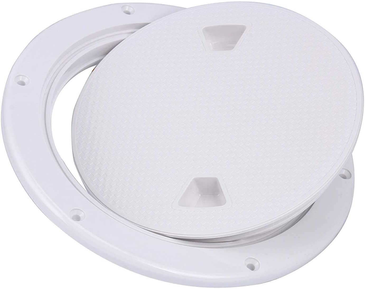 Amarine Made 2 Pack of Boat Round Non Slip Inspection Hatch,Detachable Cover and Pre-drilled Holes in Deck Plate Easily to Install